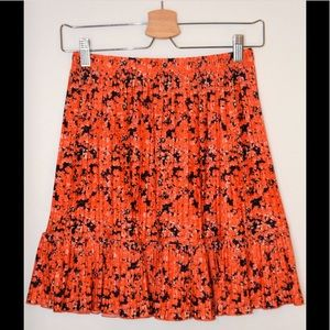 Zara Orange and Black pleated Skirt